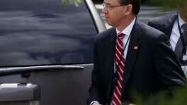 Deputy Attorney General Rod Rosenstein arrives for a meeting at the White House, Monday. A Sunday tweet by President Trump pressures Rosenstein into forcing the Justice Department to investigate the investigators in either a prelude to another Saturday Night Massacre to discredit the investigation into possible Russian collusion and presidential obstruction of justice.