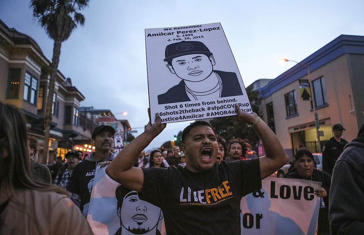 Jesus Ruiz calls out during a protest on 24th Street which marked the one-year anniversary of the death of Amilcar Perez-Lopez , in San Francisco, California, on Friday, February 26, 2016. Amilcar Perez-Lopez was fatally shot by police last year.