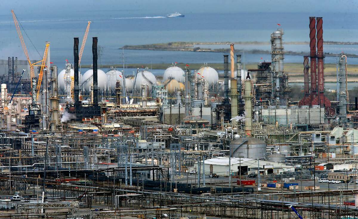 The Chevron refinery in Richmond. Thousands of businesses would have to estimate their carbon emissions under a new bill backed by state Sen. Scott Wiener, D-San Francisco.