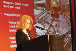 Mary Lamie, executive director of St. Louis Regional Freightway, talks about the need for improvements at the Union Pacific Lenox Tower in Mitchell, during a Freight Summit luncheon held as part of FreightweekSTL, a four-day conference that ended Thursday.