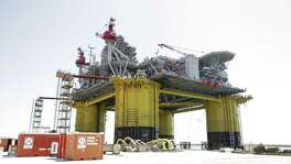 A view of Shell's Gulf deepwater platform, Appomattox, before its recent launch.