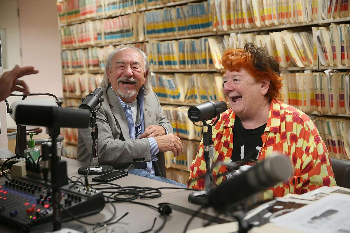 Comedian Will Durst (left) and his wife Debi Durst (right) with Peter Hartlaub and Heather Knight (not seen act left) do a podcast at the Chronicle on Monday, May 21, 2018 in San Francisco, Calif.