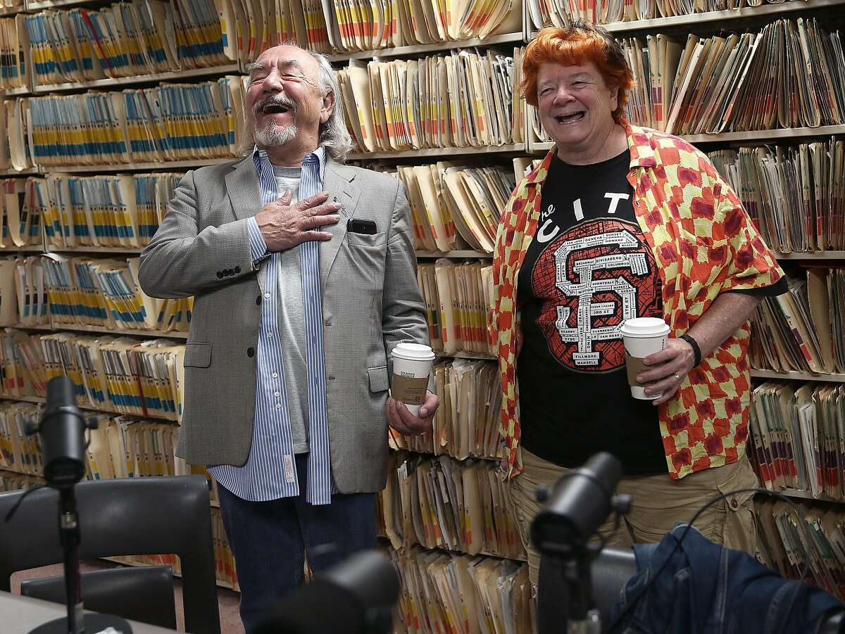 Comedian Will Durst (left) and his wife Debi Durst (right) with Peter Hartlaub and Heather Knight (not seen) prepare to do a podcast at the Chronicle on Monday, May 21, 2018 in San Francisco, Calif.