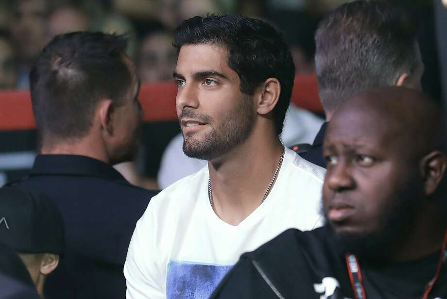 San Francisco 49ers quarterback Jimmy Garoppolo watches a Bellator 199 mixed martial arts fight in San Jose, Calif., Saturday, May 12, 2018. (AP Photo/Jeff Chiu) Photo: Jeff Chiu / Associated Press