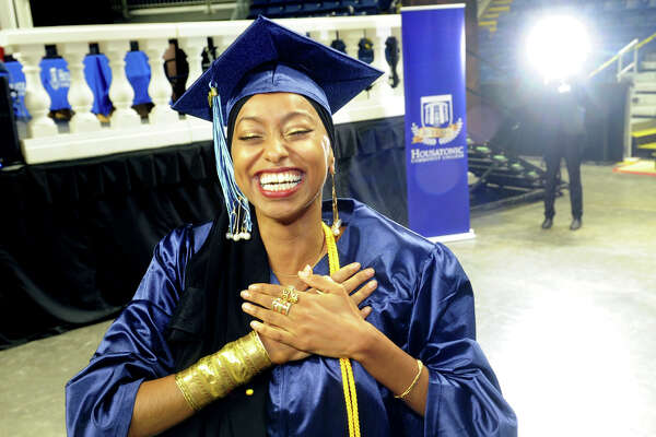 Ahlaam Abduljalil, of Bridgeport, celebrates during Commencement for the Housatonic Community College graduating Class of 2018 at the Webster Bank Arena, in Bridgeport, Conn. May 24, 2018.