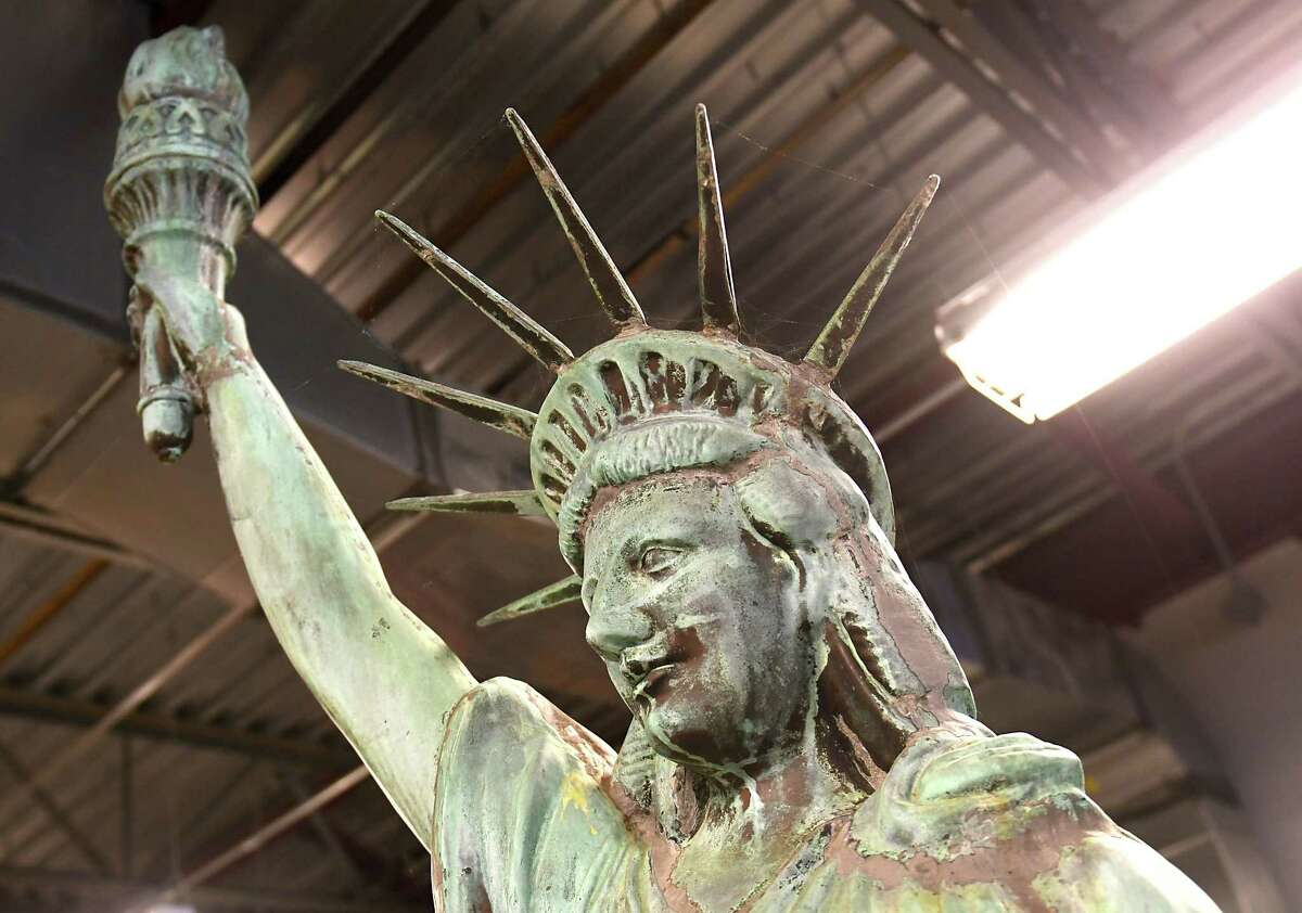 Schenectady Statue of Liberty that has been stored for the past 2 years at the Bureau of Services building is destined for its new home, most likely Steinmetz Park on the city's North side on Friday, Feb. 23, 2018, in Schenectady, N.Y. (Lori Van Buren/Times Union archive)