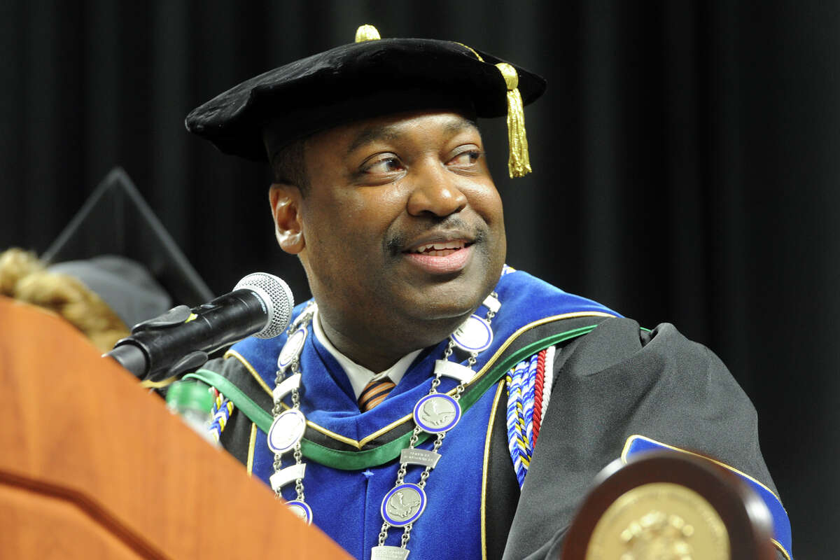 Housatonic Community College President Paul Broadie speaks during Commencement for the graduating Class of 2018 at the Webster Bank Arena in Bridgeport, Conn. May 24, 2018.