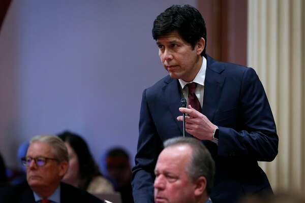 State Sen. Pro Tem Kevin de Leon anounces that state Sen. Tony Mendoza tendered his resignation at the State Capitol in Sacramento, Calif. on Thursday, Feb. 22, 2018 following allegations of sexual misconduct.
