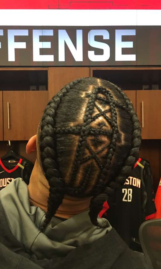 Rockets guard Gerald Green went old school on Thursday night, in sporting the long-gone Houston Oilers' derrick on his head for Game 5 vs. Golden State at Toyota Center. Photo: Brent Zwerneman