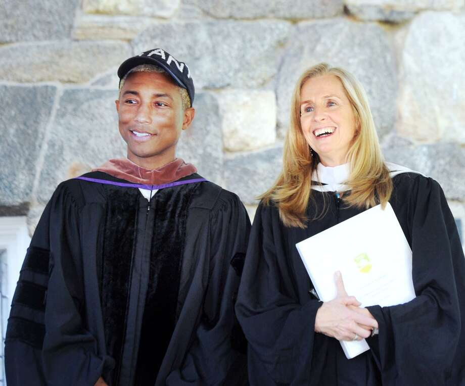Pharrell Williams addresses the graduates at Greenwich Academy