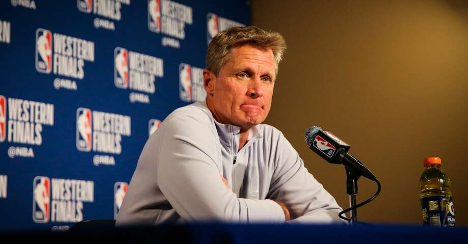 Warriors head coach Steve Kerr speaks to the media ahead of Game 4 of the Western Conference finals between the Golden State Warriors and the Houston Rockets at Oracle Arena in Oakland, California, on Tuesday, May 22, 2018. Photo: Gabrielle Lurie/The Chronicle