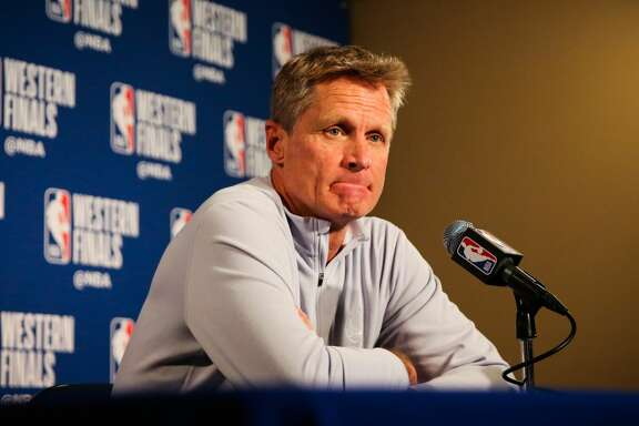Warriors head coach Steve Kerr speaks to the media ahead of Game 4 of the Western Conference finals between the Golden State Warriors and the Houston Rockets at Oracle Arena in Oakland, California, on Tuesday, May 22, 2018.