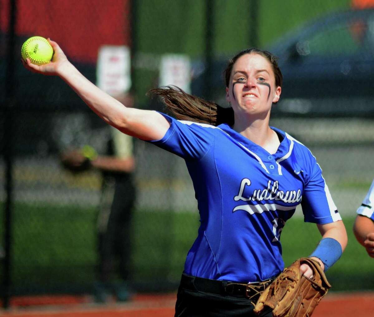 Fairfield Ludlowe's Elizabeth Doolan (17) sends a St. Jospeh ball to first during FCIAC softball semi-final action at Sacred Heart University in Fairfield, Conn., on Thursday May 24, 2018.