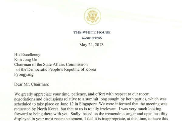 President Donald Trump's letter to Kim Jong Un.