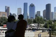 The downtown skyline is shown from the The Water Works during the Buffalo Bayou Park grand opening Saturday, Oct. 3, 2015, in Houston. ( Melissa Phillip /Houston Chronicle )