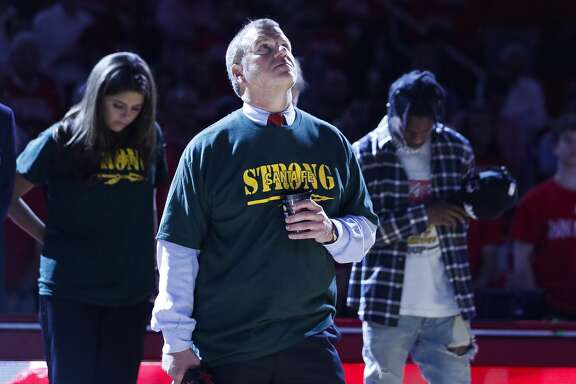 Rockets owner Tilman Fertitta participates in a moment of silence for the victims of the Santa Fe High School shooting before Game 5 of the NBA Western Conference Finals at Toyota Center on Thursday, May 24, 2018, in Houston. ( Brett Coomer / Houston Chronicle )