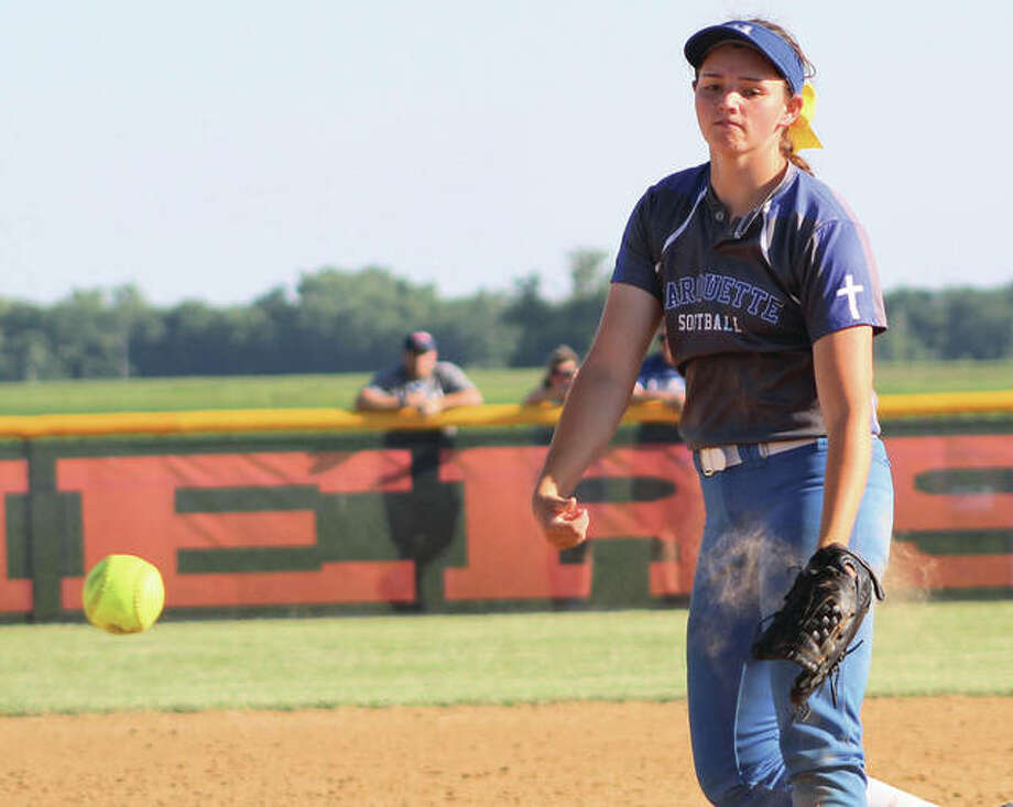 Marquette Catholic's Meghan Schorman deliverd a pitch to the plate during her one-hitter to shut out Buffalo Tri-City on Thursday in the semifinals of the Gillespie Class 2A Sectional. Photo:       Greg Shashack / The Telegraph