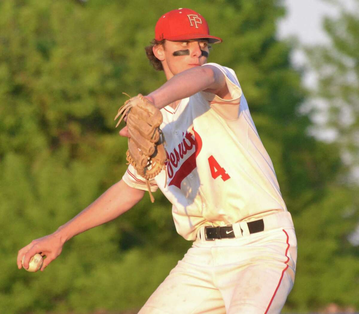 Fairfield Prep's Alex Linsenmeyer pitches against Hand in Thursday's SCC championship game in West Haven.