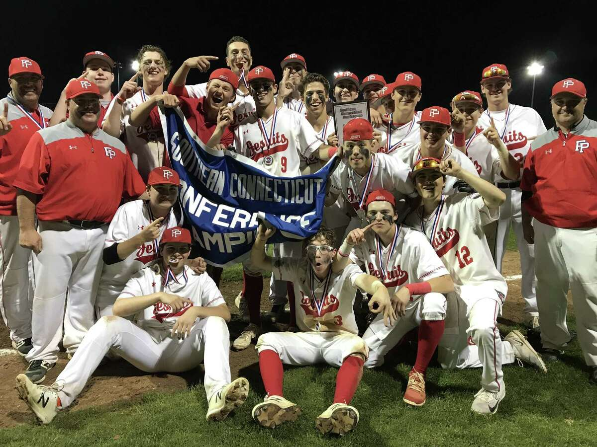 The Fairfield Prep baseball team celebrates its win over Hand in the SCC championship game on Thursday night.