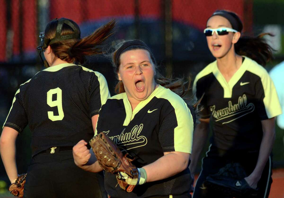 Trumbull third baseman Delilha Destefano (33) celebrates after beating Stamford during FCIAC softball semi-final action at Sacred Heart University in Fairfield, Conn., on Thursday May 24, 2018.
