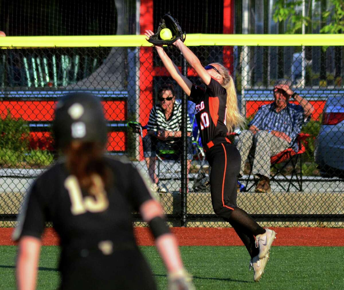 Stamford's Brycelin Stalteri cathces a Trumbull pop-fly during the FCIAC semifinals on Thursday.