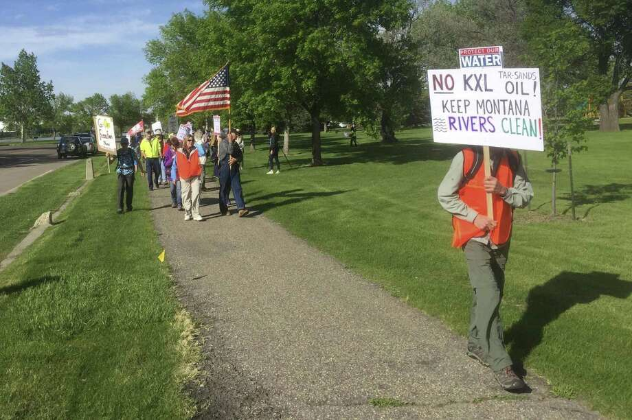 Opponents of the Keystone XL Pipeline project protest this week in Great Falls, Mont. Photo: Karl Puckett, MBR / Associated Press / The Great Falls Tribune