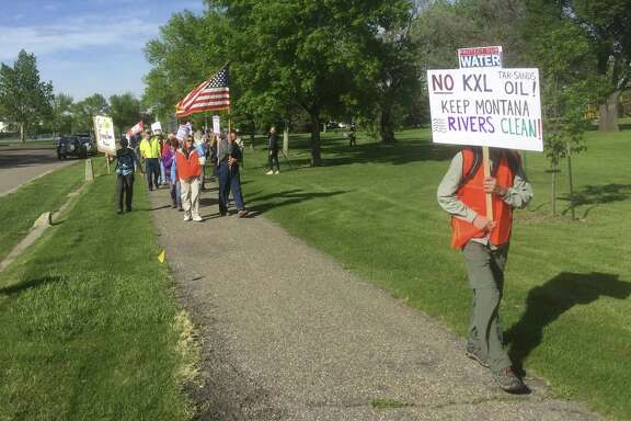 Opponents of the Keystone XL Pipeline project protest this week in Great Falls, Mont.
