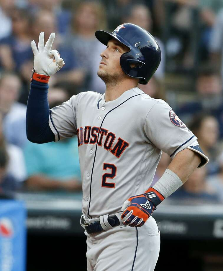 Alex Bregman of theAstros celebrates after hitting a three-run home run off Cleveland starter Mike Clevinger in the fifth inning Thursday night that gave the Astros a 3-2 lead. Photo: Ron Schwane, Stringer / Getty Images / 2018 Getty Images