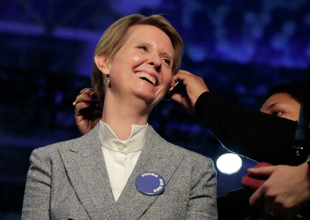 New York gubernatorial candidate Cynthia Nixon prepares for an interview during the New York state Democratic convention, Wednesday, May 23, 2018, in Hempstead, N.Y. (AP Photo/Julie Jacobson)