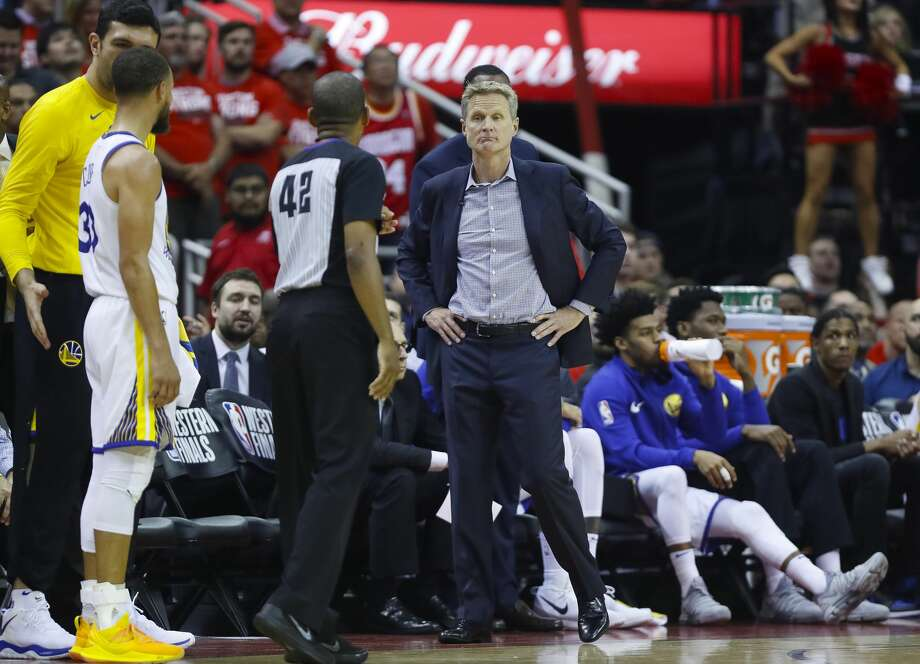 Golden State Warriors head coach Steve Kerr reacts during the first half of Game 5 of the NBA Western Conference Finals at Toyota Center on Thursday, May 24, 2018, in Houston. ( Brett Coomer / Houston Chronicle ) Photo: Brett Coomer/Houston Chronicle