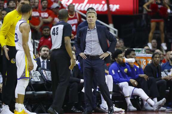 Golden State Warriors head coach Steve Kerr reacts during the first half of Game 5 of the NBA Western Conference Finals at Toyota Center on Thursday, May 24, 2018, in Houston. ( Brett Coomer / Houston Chronicle )