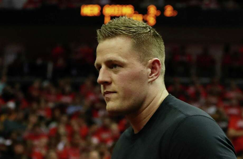 NFL player J. J. Watt of the Houston Texans looks on during Game Five of the Western Conference Finals of the 2018 NBA Playoffs between the Houston Rockets and the Golden State Warriors at Toyota Center on May 24, 2018 in Houston, Texas.  See the best places to get pasta in Houston in the following gallery... Photo: Ronald Martinez, Getty Images / 2018 Getty Images