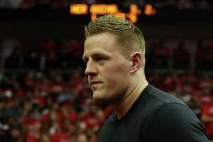 HOUSTON, TX - MAY 24:  NFL player J. J. Watt of the Houston Texans looks on during Game Five of the Western Conference Finals of the 2018 NBA Playoffs between the Houston Rockets and the Golden State Warriors at Toyota Center on May 24, 2018 in Houston, Texas.