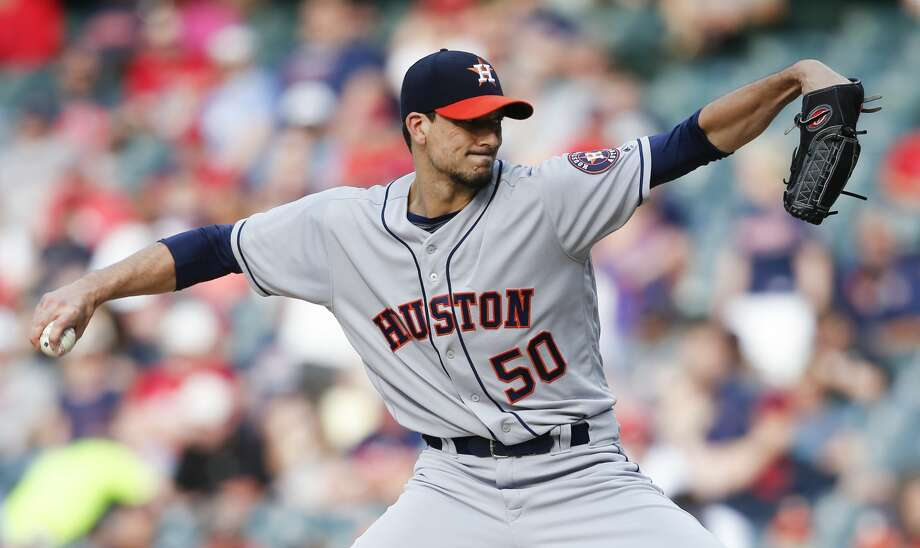 CLEVELAND, OH - MAY 24: Starting pitcher Charlie Morton #50 of the Houston Astros pitches against the Cleveland Indians during the first inning at Progressive Field on May 24, 2018 in Cleveland, Ohio. (Photo by Ron Schwane/Getty Images) Photo: Ron Schwane/Getty Images
