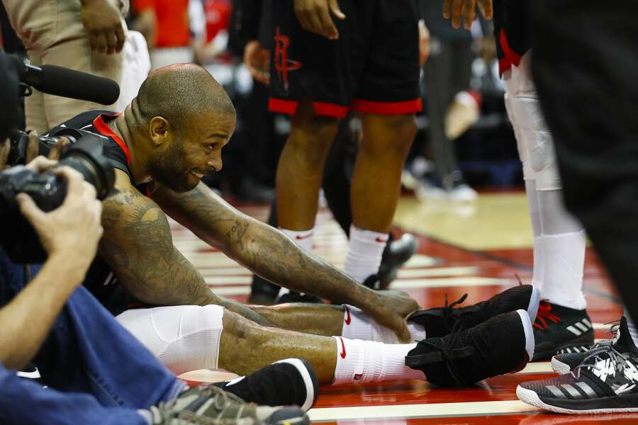 meet 27cc8 81c43 1of14PHOTOS  A look at some of the sneakers P.J. Tucker has worn during  games Houston Rockets forward PJ Tucker (4) sits on the ground after a play  during ...