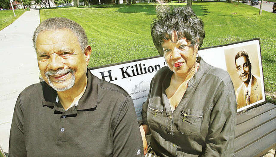 James Killion III and his sister, Carol Killion Hudson, sit on the bench at the corner of the Alton park named after their father, James H. Killion Park at Salu. Their father would have been 100 years old today. Photo:       John Badman | The Telegraph