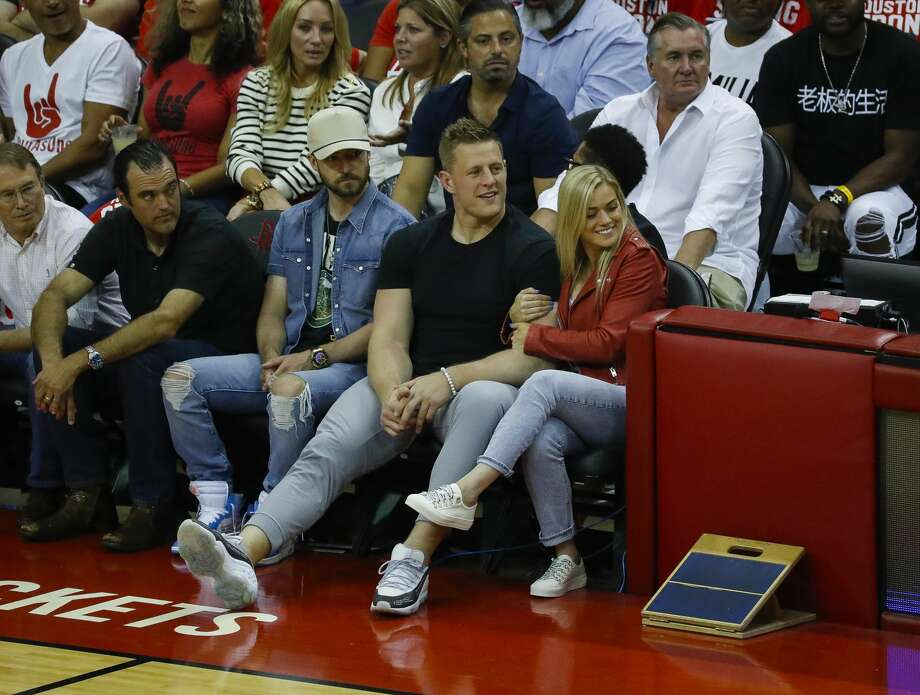 Justin Timberlake, J.J. Watt and Kealia Ohai watch Game 5 of the Western Conference Finals at Toyota Center, Thursday, May 24, 2018, in Houston.  ( Karen Warren  / Houston Chronicle ) Photo: Karen Warren/Houston Chronicle