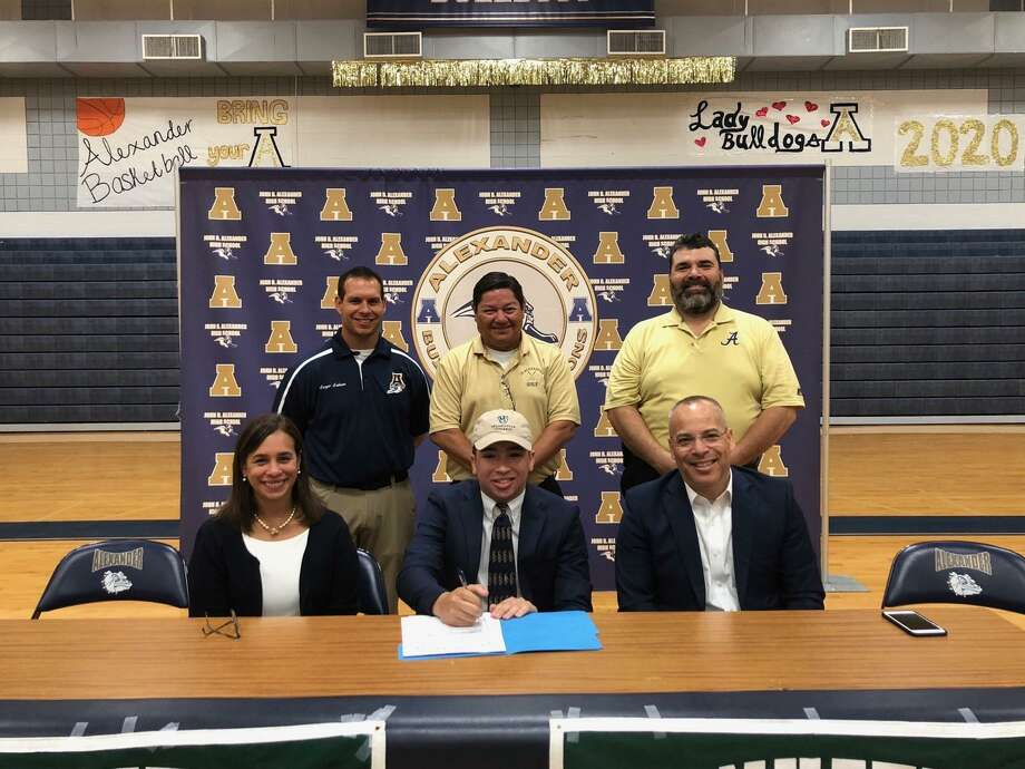 Jimmy Escoto signs his National Letter of Intent Thursday as the Alexander product joins DI Manhattan College next year. Photo: Courtesy Of Alexander Athletics