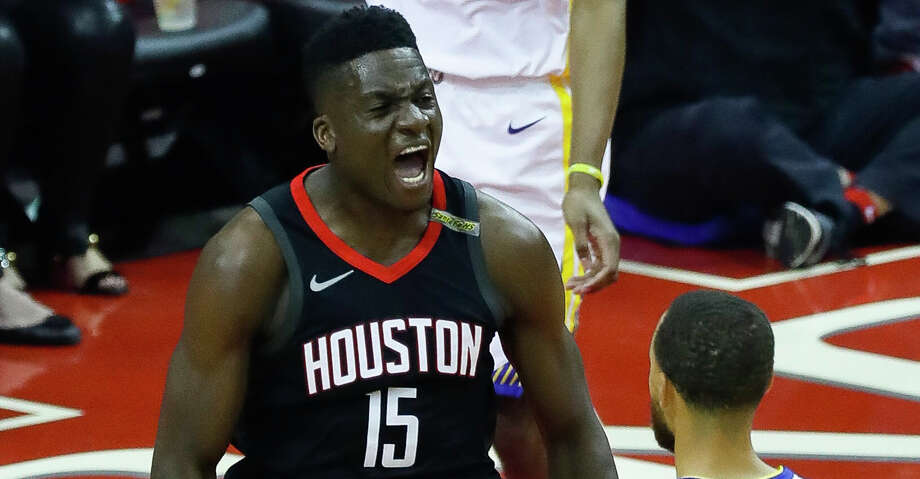 Houston Rockets center Clint Capela (15) celebrates during the first half of Game 5 of the Western Conference Finals at Toyota Center, Thursday, May 24, 2018, in Houston.  ( Karen Warren  / Houston Chronicle ) Photo: Karen Warren/Houston Chronicle / © 2018 Houston Chronicle