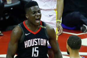 Houston Rockets center Clint Capela (15) celebrates during the first half of Game 5 of the Western Conference Finals at Toyota Center, Thursday, May 24, 2018, in Houston.  ( Karen Warren  / Houston Chronicle )