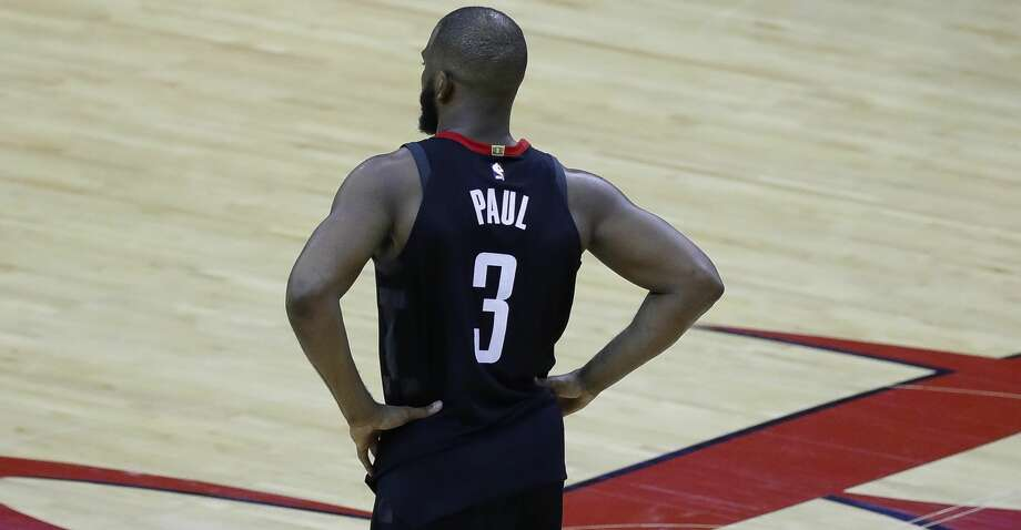 Houston Rockets guard Chris Paul (3) reacts after he was injured on a play in the second half during Game 5 of the Western Conference Finals at Toyota Center, Thursday, May 24, 2018, in Houston.  ( Karen Warren  / Houston Chronicle ) Photo: Karen Warren/Houston Chronicle