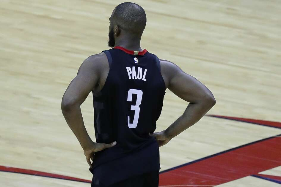 Houston Rockets guard Chris Paul (3) reacts after he was injured on a play in the second half during Game 5 of the Western Conference Finals at Toyota Center, Thursday, May 24, 2018, in Houston.  ( Karen Warren  / Houston Chronicle )