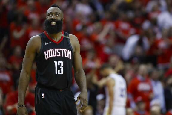 Houston Rockets guard James Harden (13) reacts during the second half of Game 5 of the NBA Western Conference Finals at Toyota Center on Thursday, May 24, 2018, in Houston. ( Brett Coomer / Houston Chronicle )
