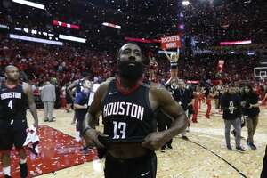 Houston Rockets guard James Harden (13) walks off the court following Game 5 of the NBA Western Conference Finals at Toyota Center on Thursday, May 24, 2018, in Houston. ( Brett Coomer / Houston Chronicle )