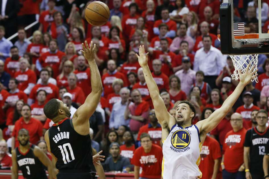 Houston Rockets guard Eric Gordon (10) shoots over Golden State Warriors guard Klay Thompson (11) during Game 5 of the Western Conference Finals at Toyota Center, Thursday, May 24, 2018, in Houston.  ( Karen Warren  / Houston Chronicle )