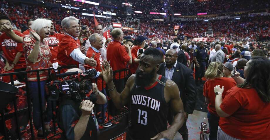 Houston Rockets guard James Harden (13) walks off the court following Game 5 of the NBA Western Conference Finals at Toyota Center on Thursday, May 24, 2018, in Houston. ( Brett Coomer / Houston Chronicle ) Photo: Brett Coomer/Houston Chronicle