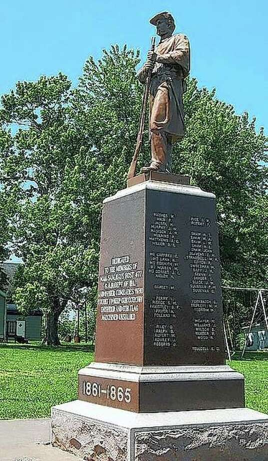 A statue along Old U.S. 54 in Summer Hill recognizes the role of those who fought in the Civil War.