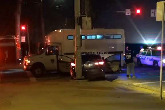 Police responded to a crash involving a bus carrying inmates in downtown Houston Friday, May 25, 2018.