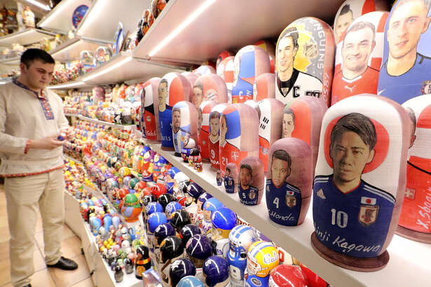 Matryoshka stacking dolls decorated with images of soccer players are showcased at a Moscow souvenir shop ahead of the 2018 FIFA World Cup in Russia. Japan's Samurai Blue is among the teams featured on the wooden doll sets, with Shinji Kagawa portrayed on the largest, 12-centimeter-tall figure, followed by Keisuke Honda, Yuto Nagatomo, Shinji Okazaki and a 2-centimeter-tall Makoto Hasebe. Matryoshka dolls depicting the Argentine team are selling well, according to the shop.