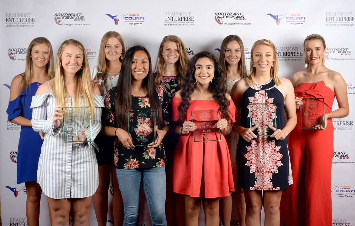 From left, the 2018 Super Gold girls soccer team. 1 Nederland's Meg Sheppard 2 Lumberton's Kambrie McFarland 3 Port Neches-Groves' Libbie LeJeune 4 Little Cypress-Mauriceville's Mayra Hernandez 5 Kelly's Caroline Kirschner 6 Hamshire-Fannett's Allison Cardenas 7 Jasper's Julie Carter 8 Jasper's Kylee Dominy 9 Jasper's Claire Walker Photo taken Guiseppe Barranco/The Enterprise